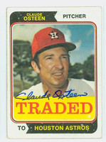 Claude Osteen TRADED AUTOGRAPH 1974 Topps #42 Astros CARD IS F/G  [SKU:OsteC1333_T74BBLG2]