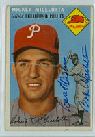 Mickey Micelotta AUTOGRAPH 1954 Topps #212 Phillies  CARD IS POOR