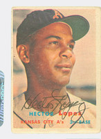 Hector Lopez AUTOGRAPH 1957 Topps #6 Athletics  CARD IS G/VG  [SKU:LopeH698_T57BBr1jl]