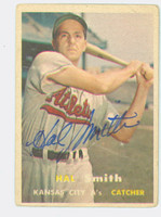 Hal W. Smith AUTOGRAPH d.20 1957 Topps #41 Athletics CARD IS F/P; HEAVY CREASE