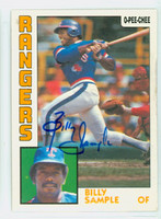 Billy Sample AUTOGRAPH 1984 O-PEE-CHEE Rangers 
