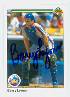 Barry Lyons AUTOGRAPH 1990 Upper Deck Mets 