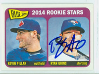 Ryan Goins AUTOGRAPH 2014 Topps Heritage 1965 Topps Design Rookie Stars Blue Jays 