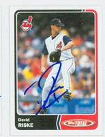 David Riske AUTOGRAPH 2003 Topps Total Indians 