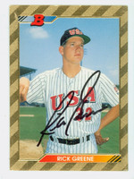 Rick Greene AUTOGRAPH 1992 Bowman USA 