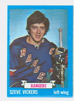 1973-74 Topps Hockey Steve Vickers New York Rangers Near-Mint Plus