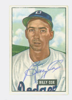 Billy Cox AUTOGRAPH d.78 1951 Bowman #224 Dodgers CARD IS CLEAN EX