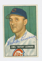 Dutch Leonard AUTOGRAPH d.83 1951 Bowman #102 Cubs CARD IS CLEAN VG/EX