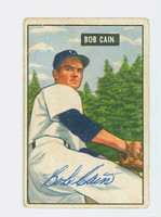 Bob Cain AUTOGRAPH d.97 1951 Bowman #197 Tigers CARD IS CLEAN VG; CRN WEAR