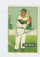 Tom Saffell AUTOGRAPH d.12 1951 Bowman #130 Pirates CARD IS VG; CRN DING