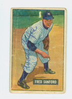 Fred Sanford AUTOGRAPH d.11 1951 Bowman #145 Yankees CARD IS F/P; CREASES