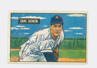 Carl Scheib AUTOGRAPH 1951 Bowman #83 Athletics CARD IS F/G; SALUT