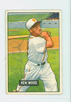 Ken Wood AUTOGRAPH d.07 1951 Bowman #209 Browns CARD IS VG