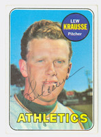 Lew Krausse AUTOGRAPH 1969 Topps #23 Athletics CARD IS VG/EX