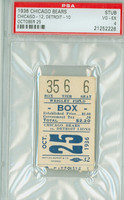 1936 Chicago Bears Ticket Stub vs Detroit Lions  - Bears 12-10  October 25, 1936 Very Good to Excellent