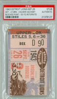 1943 Detroit Lions Ticket Stub vs Brooklyn Dodgers  - Lions 27-0  September 26, 1943 PSA/DNA Authentic Slabbed