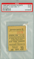1946 Chicago Rockets Ticket Stub vs New York Yankees  - Rockets 17-17  September 20, 1946 Good