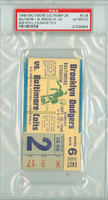 1948 Baltimore Colts Ticket Stub vs Brooklyn Dodgers AAFC Colts Bob Pfohl 3 Rushing TDs - Colts 35-20  September 26, 1948 PSA/DNA Authentic Slabbed