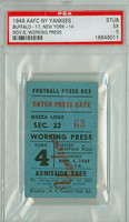 1949 New York Yankees Ticket Stub vs Buffalo Bills Working Press Pass - Bills 17-14  November 6, 1949 Excellent