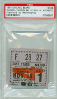 1951 Chicago Bears Ticket Stub vs Green Bay Packers Tobin Rote 150 Yds Rushing - Bears 24-13  November 18, 1951 PSA/DNA Authentic Slabbed