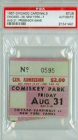 1951 Chicago Cardinals Ticket Stub vs New York Yankees Pre-Season Game -   August 31, 1951 PSA/DNA Authentic Slabbed