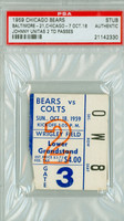 1959 Chicago Bears Ticket Stub vs Baltimore Colts Johnny Unitas 2 TD Passes - Colts 21-7  October 18, 1959 PSA/DNA Authentic Slabbed