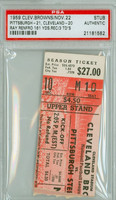 1959 Cleveland Browns Ticket Stub vs Pittsburgh Steelers Ray Renfro 161 Yds. 3 TD - Steelers 21-20  November 22, 1959 PSA/DNA Authentic Slabbed