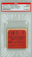 1959 Baltimore Colts NFL Championship Ticket Stub vs New York Giants Johnny Unitas 2 TD Passes, 1 TD Rush Red Variation  - Colts 31-16  December 27, 1959 PSA/DNA Authentic Slabbed