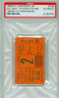 1965 New York Giants Ticket Stub vs Cleveland Browns Jim Brown 177 Yds Rushing Frank Ryan 3 TD Pass  - Browns 38-14  October 24, 1965 PSA/DNA Authentic Slabbed