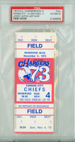 1973 San Diego Chargers Full Ticket vs Kansas City Chiefs Johnny Unitas LAST CAREER GAME - Chiefs 19-0  November 4, 1973 PSA/DNA Authentic Slabbed