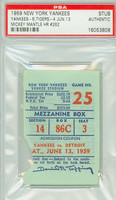 1959 New York Yankees Ticket Stub vs Detroit Tigers Mickey Mantle HR #262 - June 13, 1959 PSA/DNA Authentic Slabbed