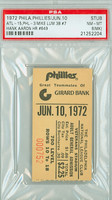 1972 Philadelphia Phillies Ticket Stub vs Atlanta Braves Hank Aaron HR #649 - June 10, 1972 [Y72_Phil0610S_p8_mk] Near Mint to Mint