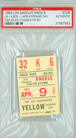 1963 Los Angeles Angels Ticket Stub vs Boston Red Sox OPENING DAY Carl Yastrzemski HR #31  - April 9, 1963 PSA/DNA Authentic Slabbed