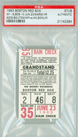 1963 Boston Red Sox Ticket Stub vs New York Yankees Roger Maris HR #205 Jim Bouton WP  - June 23, 1963 PSA/DNA Authentic Slabbed