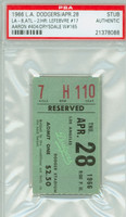 1966 Los Angeles Dodgers Ticket Stub vs Atlanta Braves Hank Aaron HR #404 Don Drysdale Win #165  - April 28, 1966 PSA/DNA Authentic Slabbed