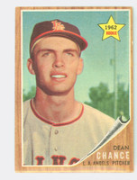 1962 Topps Baseball 194 Dean Chance ROOKIE Los Angeles Angels Excellent Green