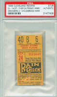 1935 Cleveland Indians Ticket Stub vs Detroit Tigers Hank Greenberg 2 for 3 Hal Trotsky HR #61  - September 24, 1935 PSA/DNA Authentic Slabbed