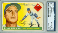 Billy Herman AUTOGRAPH d.92 1955 Topps #19 Dodgers PSA/DNA CARD IS F/G; RND CRNS
