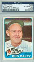 Bud Daley AUTOGRAPH 1965 Topps #262 Indians PSA/DNA CARD IS F/G; SL CREASE; AUTO CLEAN