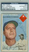 Billy Herman AUTOGRAPH d.92 1954 Topps #86 Dodgers PSA/DNA CARD IS F/G; CRN WEAR, CHIPPING, AUTO CLEAN