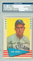 Earl Averill AUTOGRAPH d.83 1961 Fleer Greats Indians PSA/DNA CARD IS SHARP EX