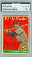 Eddie Kasko AUTOGRAPH 1958 Topps #8 Cardinals Yellow Letters PSA/DNA CARD IS VG; AUTO CLEAN