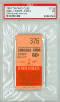 1961 Chicago Cubs Ticket Stub vs San Francisco Giants Ernie Banks HR #293 - September 2, 1961 Near Mint
