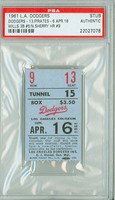1961 Los Angeles Dodgers Ticket Stub vs Pittsburgh Pirates Maury Wills Triple #5 Norm Sherry HR #9  - April 16, 1961 PSA/DNA Authentic Slabbed