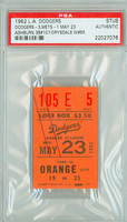 1962 Los Angeles Dodgers Ticket Stub vs New York Mets Don Drysdale Win #85 1962 New York Mets Inaugral Season  - May 23, 1962 PSA/DNA Authentic Slabbed