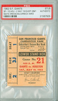 1962 San Francisco Giants Ticket Stub vs Houston Colt 45s Willie Mays HR #330 1962 Houston Colt 45s Inagural Season  - May 19, 1962 PSA/DNA Authentic Slabbed