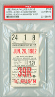 1962 Philadelphia Phillies Ticket Stub vs Houston Colt 45s Art Mahaffey Win #27 1962 Houston Colt 45s Inagural Season  - June 26, 1962 PSA/DNA Authentic Slabbed