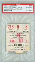 1964 Los Angeles Dodgers Ticket Stub vs Milwaukee Braves Denny Lemaster Win #27 - August 18, 1964 PSA/DNA Authentic Slabbed