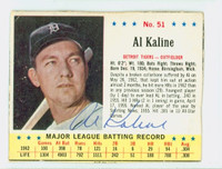 Al Kaline AUTOGRAPH 1963 Jello #51 Tigers CARD IS G/VG; AUTO CLEAN