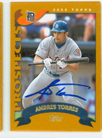 Andres Torres AUTOGRAPH 2002 Topps Tigers 